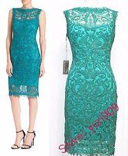 Tadashi Shoji Aqua Embroidered Lace Sleeveless Cocktail Dress Size 16 $408