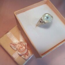 """Handcrafted Mother Of Pearl Blue Evil Eye  """" Amulet """" Silver 925 Ring skaisOCT17"""