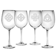 Wine Glasses Celtic Knots Set/4 Hand Etched Irish St. Patrick's Day Gifts