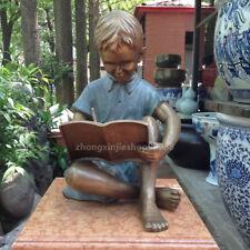Western Art Deco Sculpture Cute boy writing reading book Bronze Statue