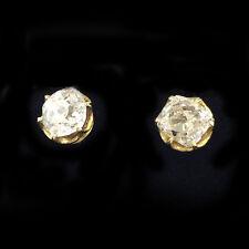 Antique, Victorian 18ct, 18k, 750 Gold Cushion-cut Diamond 1.20ct stud earrings.