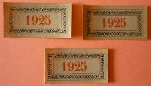 LOT DE 3 ETIQUETTE MILLESIME BOURGOGNE 1925 NEUVES