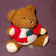 "Brown Teddy Bear Tan Green Red Sweater Plush Stuffed Animal Toy 6"" Hugfun Int'l"