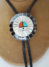Sterling & Inlay Southwest Bolo Tie ~ Zuni Sun god ~ Handcrafted ~ Unsigned