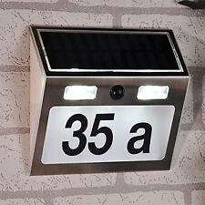 Solar LED Edelstahl Hausnummer mit Bewegungsmelder Beleuchtung B15,5xT4,5xH18cm