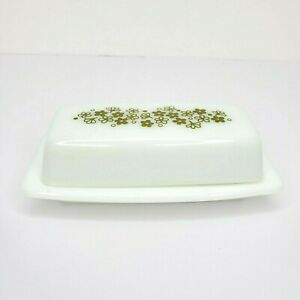 Vintage Pyrex Glass Butter Dish Spring Blossom Crazy Daisy Flowers Green & White