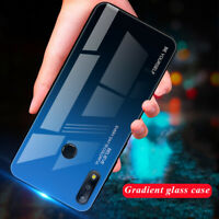 For Asus Zenfone Max Pro M2 ZB631KL, Soft Bumper Gradient Glass Shell Case Cover