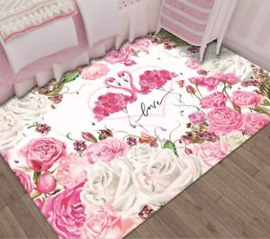 Pink Rose Flamingo Carpet Living Room Rug Modern Girl Child Room Decor Floor Rug
