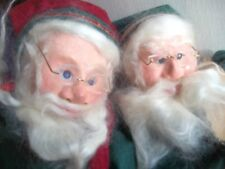 "24 "" ELVES paper mache SANTA CLAUS felt CHRISTMAS DOLLS red green Yule Nisse"