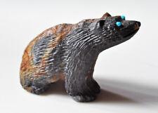 Realistic Picasso Marble fetish bear by master Zuni carver Chris Waatsa