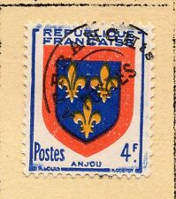 """FRANCE = 4f """"Arms"""" with Pre-Cancel. MH or Used (No Gum) Hinged to page. (b)"""