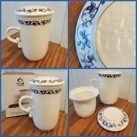 NEW Teavana Filigree Ceramic Porcelain Tea Cup, Infuser w/ Lid Coffee Mug PRETTY