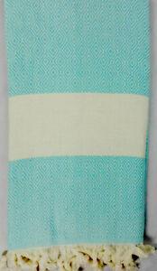 Cotton&Olive -Turkish 100% Cotton Peshtemal/Hammam Fringed Towel -Blue 100x180cm