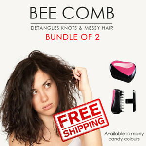 SOL Bundle of 2. Bee Anti-tangle Comb Detangling Brush. All hair types