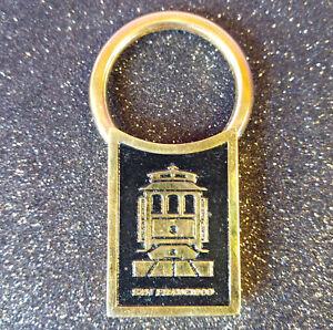 Gold Plated Solid Brass San Francisco Trolley Car Twist Keyring Fob Black Gold