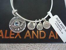 Authentic Alex and Ani Evil Eye Rafaelian Silver Expandable Charm Bangle