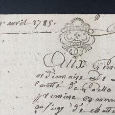 Acte Notarié 1785 Marque Généralité De Bretagne