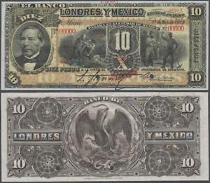 Mexico - Banco Londres, SPECIMEN! 10 Pesos SPECIMEN!, 19xx, AU (pinhole), P-S234