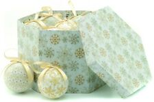 Set 14 Cream & Gold Snowflake patterned Decoupage Christmas tree Baubles
