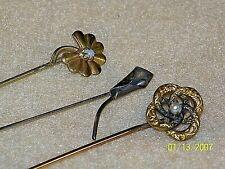 Vintage Lot Of 3 Hat Pins Stick Pins
