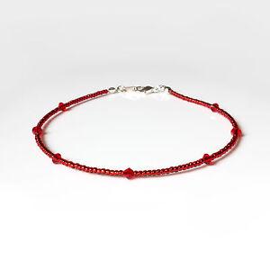 Red Swarovski Crystal Elements and Seedbead Anklet