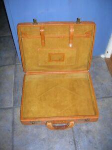 Vintage Retro Tan LEATHER & SUEDE Brief Case i-pad Man-bag Sandwiches Work