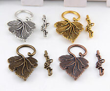 10Sets Silver/Gold/Brass Grape Leaf Toggle Clasps Finding Jewelry Making DIY