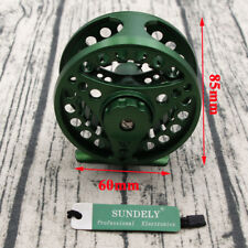 GREEN ALUMINUM FLY FISHING REEL 5/6 85MM LEFT OR RIGHT HAND RETREIVE AU