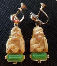 Vintage Buddha Earrings Faux Jade Celluloid Screwbacks Unsigned Selro? 1950's