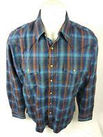 Wrangler Retro Mens Western Pearl Snap plaid Shirt Blue Brown