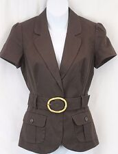 Banana Republic Brown Cotton Linen Fitted Blazer Jacket Belted Waist Safari 4