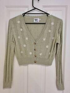 Princess Polly Crop 8 Jumper Sweater Cardigan Green Floral BNWOT