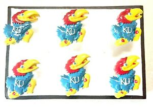 KU JAYHAWKS University Push Pins Thumb Tacks - Handmade Decorative 6 pc Set