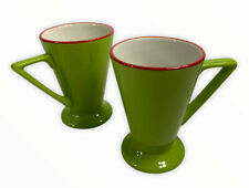 Pier 1 Art Deco Style Angleterre England Footed Coffee Mugs Chartreuse Green X 2