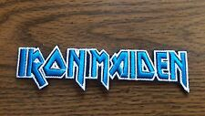 IRON MAIDEN,IRON ON BLUE WITH WHITE EDGE EMBROIDERED PATCH