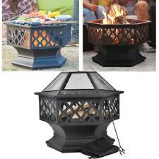 Feuerstelle mit Grillrost, Feuerschale mit Funkenschutz für BBQ, Heizung, Garten