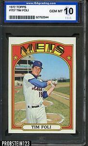 1972 Topps #707 Tim Foli New York Mets ISA 10 GEM MINT