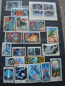 Vintage USSR Soviet Union Russian Cosmos Space Collection of over 200 Stamps