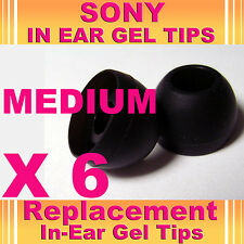 6 SONY MDR EX CX In Ear Buds HeadPhones Headset Earphones Gel Tips Medium