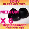 6 SONY MDR EX CX In Ear Buds HeadPhones Headset Earphones Gel Tips Medium