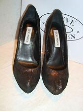 New Steve Madden Woman Fantasha Black Gold Pumps Heels Shoes 5.5 Medium