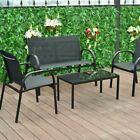 Costway 4 Pcs Patio Furniture Set Sofa Coffee Table Steel Frame Garden Black