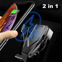Qi Wireless Car Charger Mount Clamping Vent Phone Holder For iPhone X Samsung