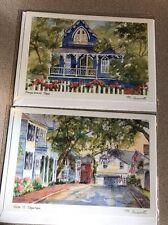 MARTHA'S VINEYARD,MASSACHUSETTS-QUAINT GINGERBREAD HOUSES-2 Greeting cards water