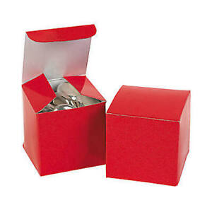 Pack of 12 - Mini Red Favor Boxes - Small Party Gift Boxes