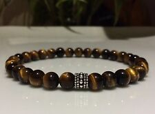 MENS bead bracelet Handmade Bali bead Sterling Silver Tiger Eye beads CUSTOM FIT