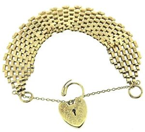 9Carat 9ct yellow gold gate bracelet 6 bars solid links safety chain padlock