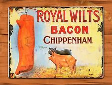"TIN-UPS TIN Sign ""Royal Wilts Bacon"" Vintage Shop Ad Butcher Farm Store"