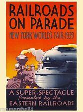 New York City World's Fair 1939 Railroads on Parade Travel Advertisement Poster