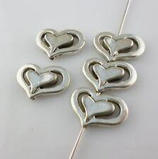 16pcs Tibetan Silver 10x14mm Heart Spacer Beads